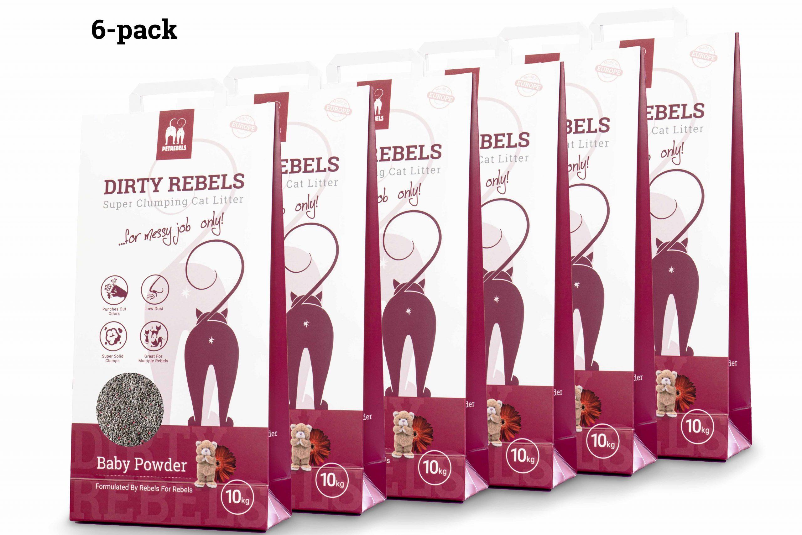 Dirty Rebels Katzenstreu - 10 ltr - Babypuder - 6-er Pack
