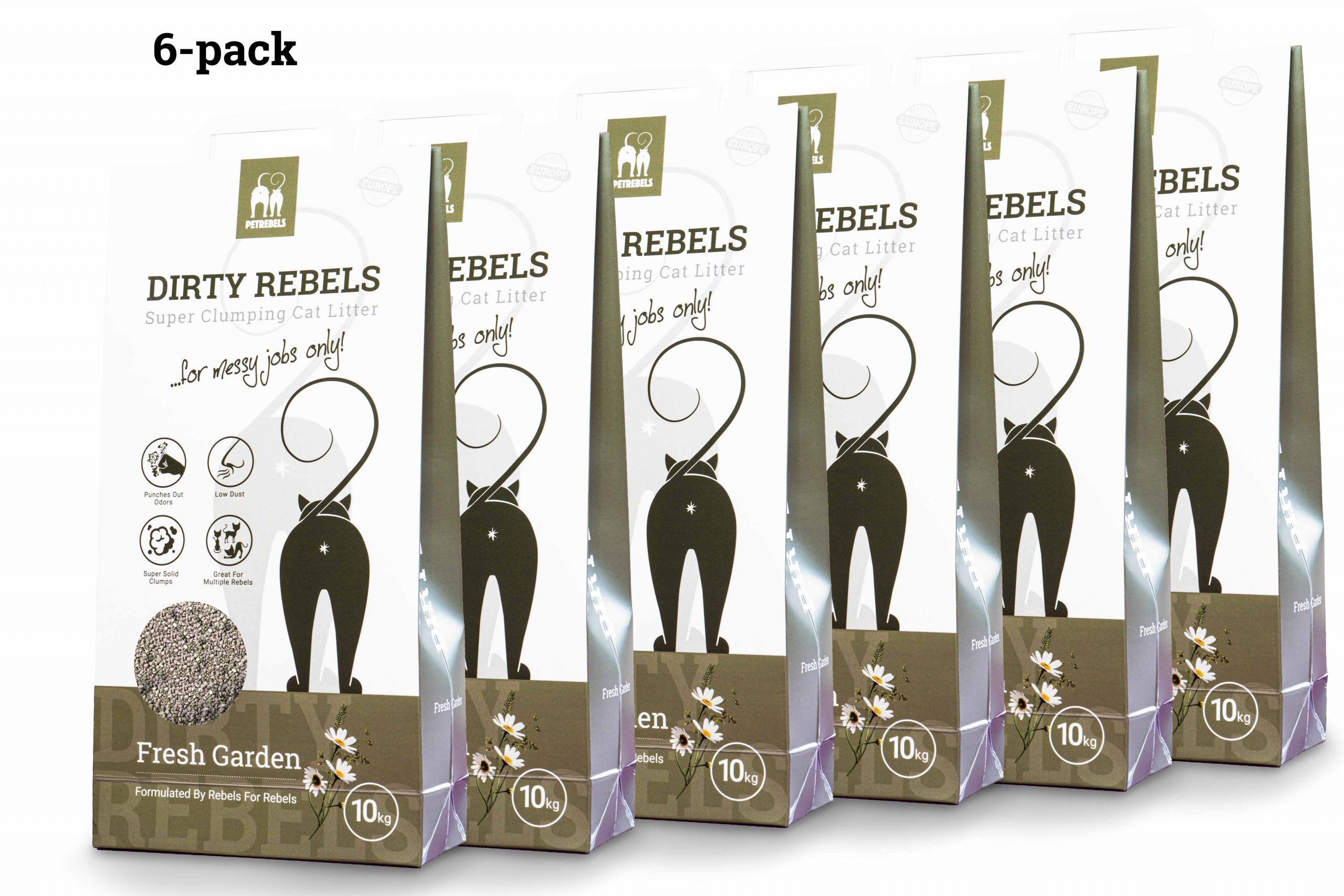 Dirty Rebels Katzenstreu - 10 ltr - Fresh Garden - 6-er Pack