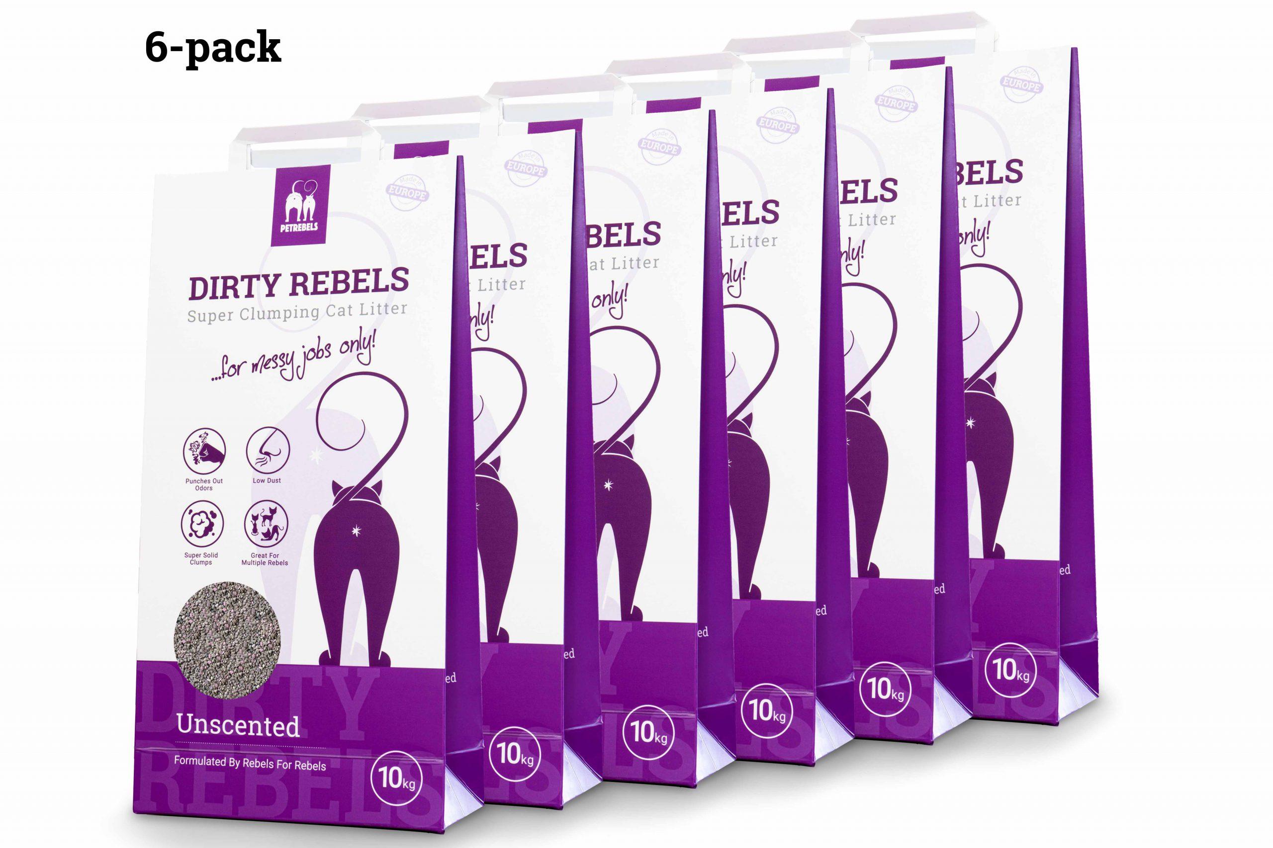 Dirty Rebels Katzenstreu - 10 ltr - dufteutral - 6-er Pack